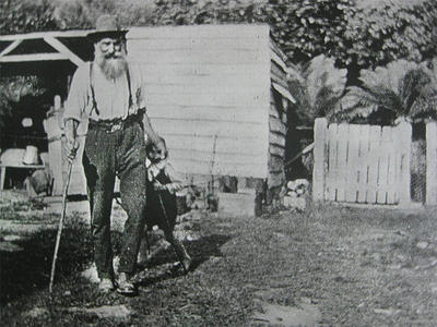 Hugh McNeight with young Noel, Waimiha-1923