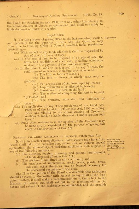 King George V Discharged Soldiers Settlement Act 1915