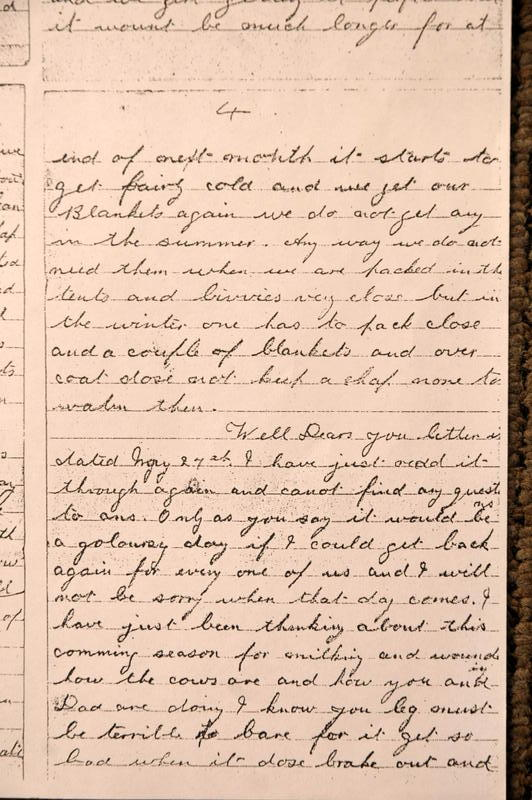 1914-William George McNeight writing home to his parents.